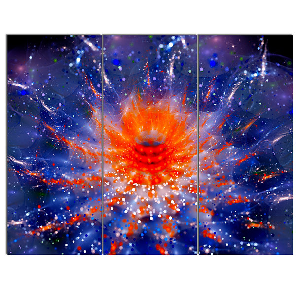 Designart Colorful Glowing Flower In Space FlowerArtwork On Canvas - 3 Panels