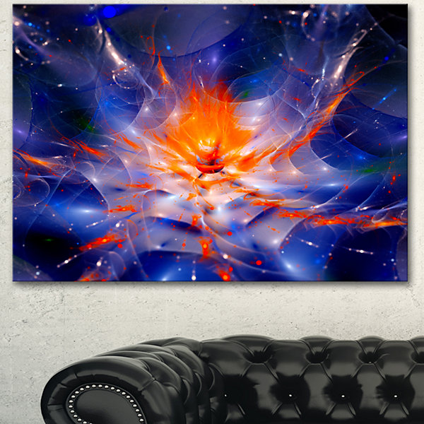 Design Art Colorful Glowing Space Flower Fractal Extra Large Floral Wall Art
