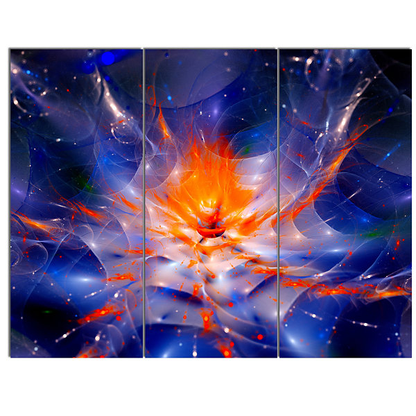 Designart Colorful Glowing Space Flower Fractal Extra Large Floral Wall Art - 3 Panels