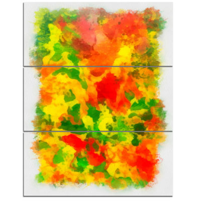 Designart Colorful Hand Drawn Floral Background Flower Artwork On Canvas - 3 Panels