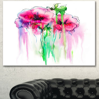 Designart Colorful Hand Drawn Red Flowers Extra Large Floral Wall Art