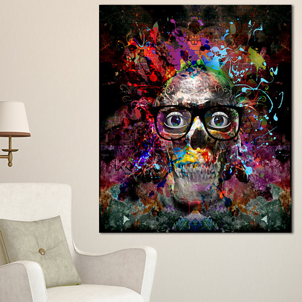 Designart Colorful Human Skull With Glasses Abstract Wall Art Canvas - 3 Panels