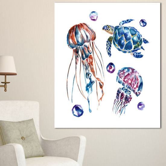 Designart Colorful Jellyfish And Turtles Animal Canvas Art Print