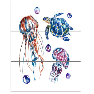 Designart Colorful Jellyfish And Turtles Animal Canvas Art Print - 3 Panels