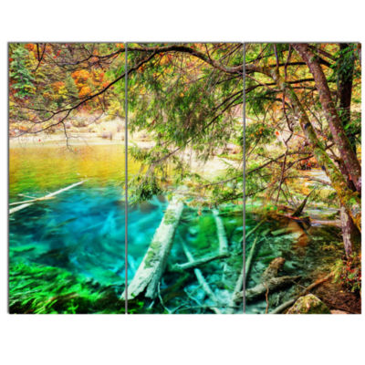 Designart Colorful Lake With Tree Trunks LandscapeCanvas Wall Art - 3 Panels