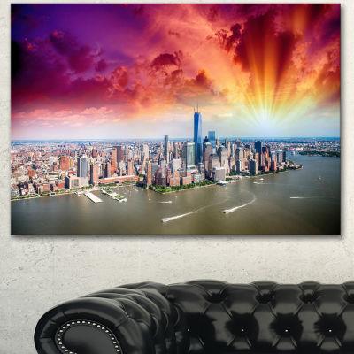 Designart Colorful New York Skyline Aerial View Modern Cityscape Canvas Art Print - 3 Panels