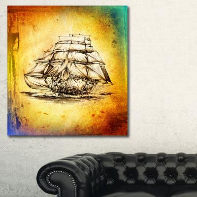 Designart Colorful Old Moving Boat Drawing Seashore Wall Art On Canvas - 3 Panels
