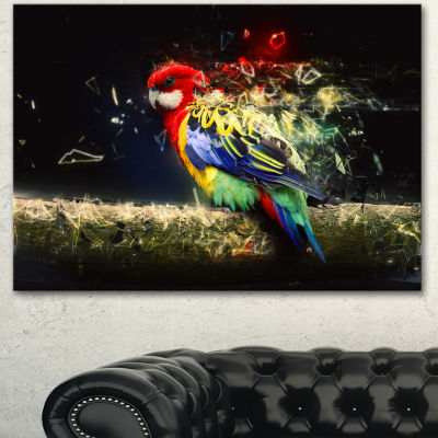 Designart Colorful Parrot On Branch Animal CanvasWall Art
