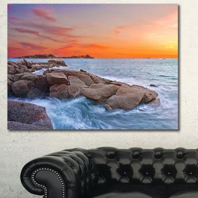 Design Art Colorful Sunset At Rocky Seaside Seashore Wall Art On Canvas - 3 Panels