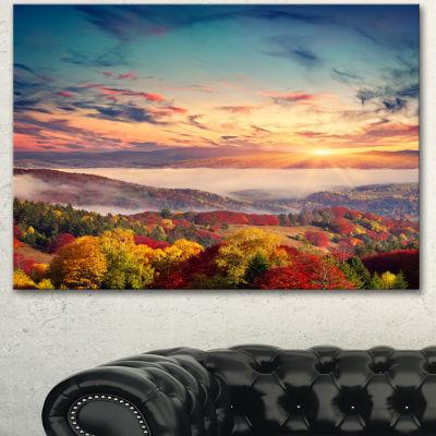 Design Art Colorful Sunset In Foggy Mountains Large Landscape Canvas Art Print