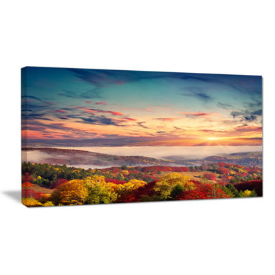 Designart Colorful Sunset In Foggy Mountains LargeLandscape Canvas Art Print