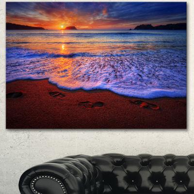 Designart Colorful Sunset Over Beautiful Shore Seashore Canvas Art Print - 3 Panels