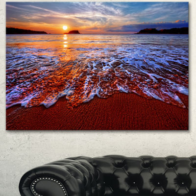 Designart Colorful Sunset With Bright Waters Seashore Canvas Art Print - 3 Panels