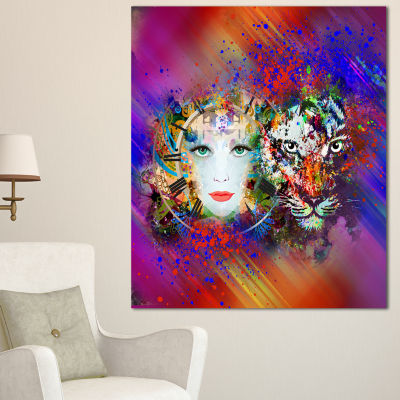Designart Colorful Tiger And Woman Face Large Abstract Canvas Art