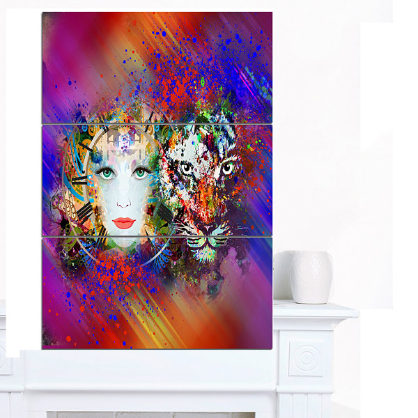Designart Colorful Tiger And Woman Face Large Abstract Canvas Art - 3 Panels