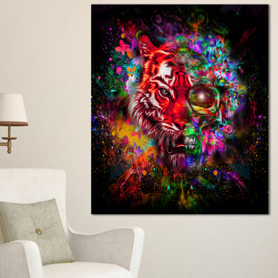 Designart Colorful Tiger Head With Half Skull Abstract Wall Art Canvas