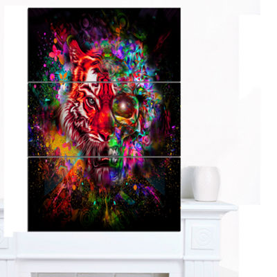 Designart Colorful Tiger Head With Half Skull Abstract Wall Art Canvas - 3 Panels