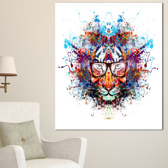 Designart Colorful Tiger In Glasses Animal CanvasArt Print