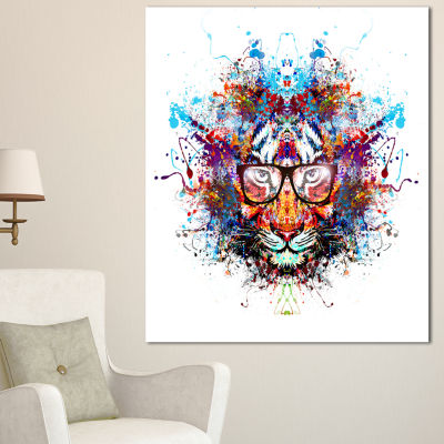Designart Colorful Tiger In Glasses Animal CanvasArt Print - 3 Panels