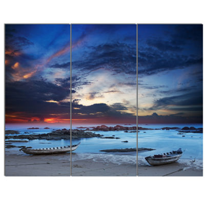 Designart Colorful Traditional Asian Boats Landscape Canvas Art Print - 3 Panels