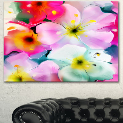 Designart Colorful Watercolor Floral Pattern ExtraLarge Floral Wall Art - 3 Panels