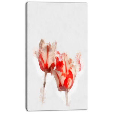 Designart Colorful Watercolor Roses On White LargeFloral Canvas Artwork
