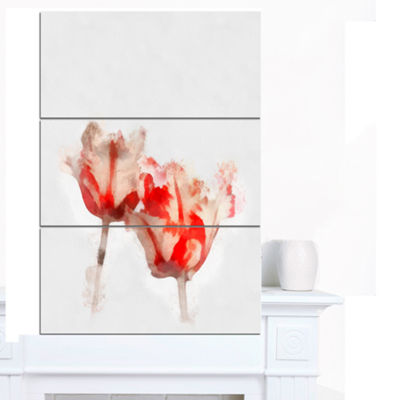 Designart Colorful Watercolor Roses On White LargeFloral Canvas Artwork - 3 Panels