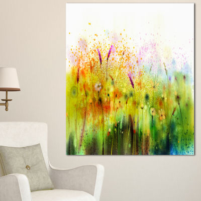 Design Art Cosmos Flowers And White Wildflowers Large Floral Canvas Art Print