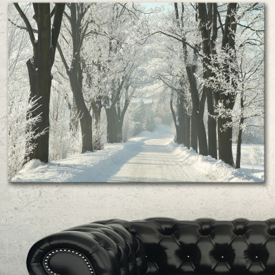 Designart Country Road Between Foggy Trees LargeForest Canvas Art Print