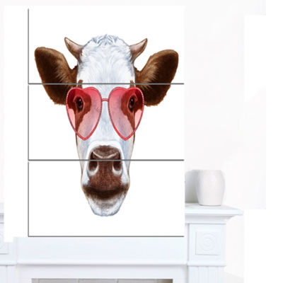 Designart Cow With Red Heart Glasses Animal CanvasArt Print - 3 Panels