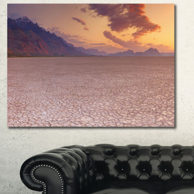 Designart Cracked Earth In Alvord Desert LandscapeCanvas Art Print