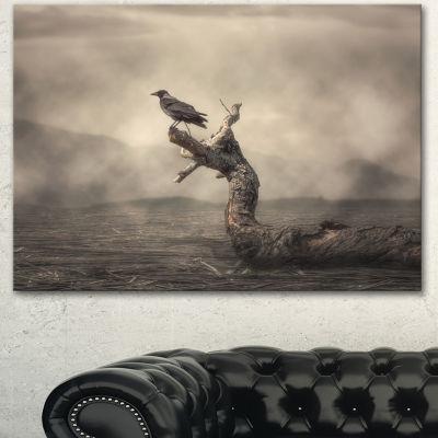 Designart Crow Perching On Tree Animal Canvas ArtPrint - 3 Panels
