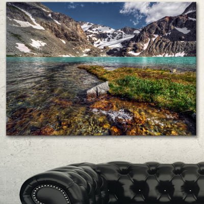 Designart Crystal Clear Creek In Mountains LargeLandscape Canvas Art Print - 3 Panels