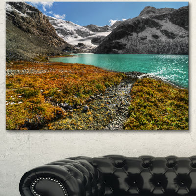 Designart Crystal Clear Lake Among Mountains Landscape Canvas Art Print