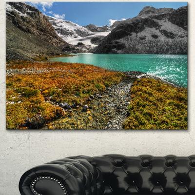Designart Crystal Clear Lake Among Mountains Landscape Canvas Art Print - 3 Panels