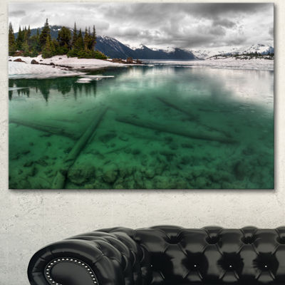 Designart Crystal Clear Lake And Mountains ExtraLarge Landscape Canvas Art Print - 3 Panels