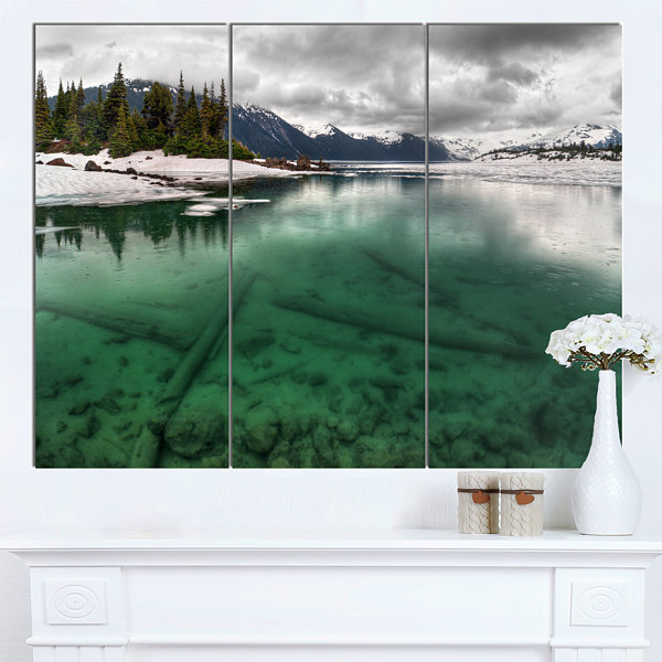 Design Art Crystal Clear Lake And Mountains ExtraLarge Landscape Canvas Art Print - 3 Panels