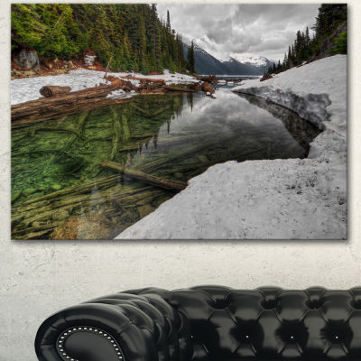 Designart Crystal Clear Lake With Pine Trees ExtraLarge Landscape Canvas Art Print - 3 Panels