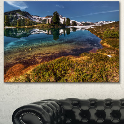 Designart Curving Mountain Lake Shore Extra LargeLandscape Canvas Art Print - 3 Panels