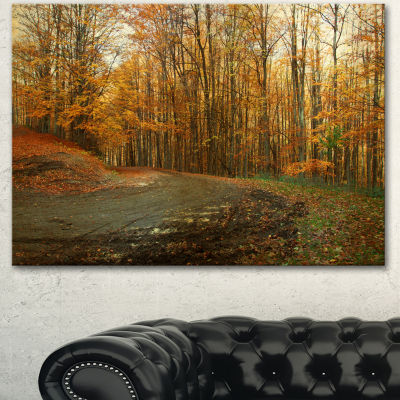 Designart Curving Road In Autumn Forest Forest Canvas Art Print - 3 Panels
