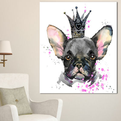 Designart Cute Black Dog With Crown Animal CanvasWall Art - 3 Panels