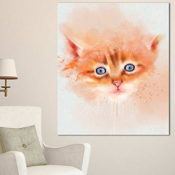 Designart Cute Brown Cat Watercolor Animal CanvasArt Print - 3 Panels