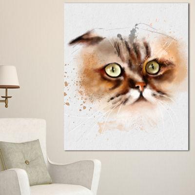 Designart Cute Brown Cat Watercolor Sketch LargeAnimal Canvas Artwork