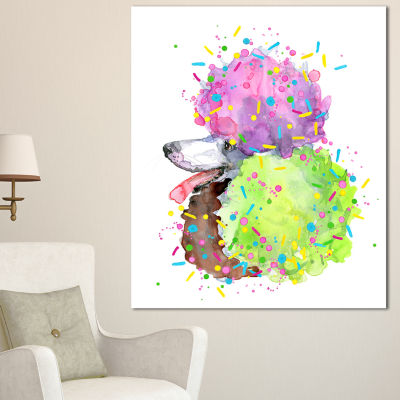 Designart Cute Brown Dog With Color Spheres Contemporary Animal Art Canvas