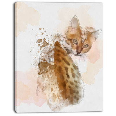 Design Art Cute Cat Sketch With Brown Splashes Animal Canvas Art Print