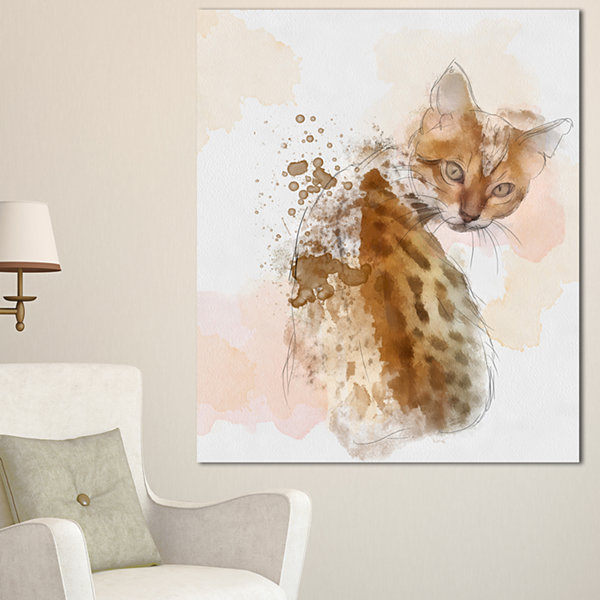 Designart Cute Cat Sketch With Brown Splashes Animal Canvas Art Print - 3 Panels