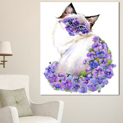Designart Cute Cat With Blue Flowers Animal CanvasArt Print - 3 Panels