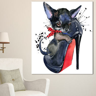 Designart Cute Dog Over Large Heeled Shoe AnimalCanvas Wall Art