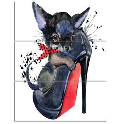 Designart Cute Dog Over Large Heeled Shoe AnimalCanvas Wall Art - 3 Panels