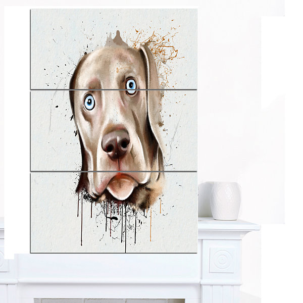 Design Art Cute Dog Portrait Watercolor OversizedAnimal Wall Art - 3 Panels